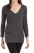 Max Studio Stretch Wool Crepe V-Neck Pullover