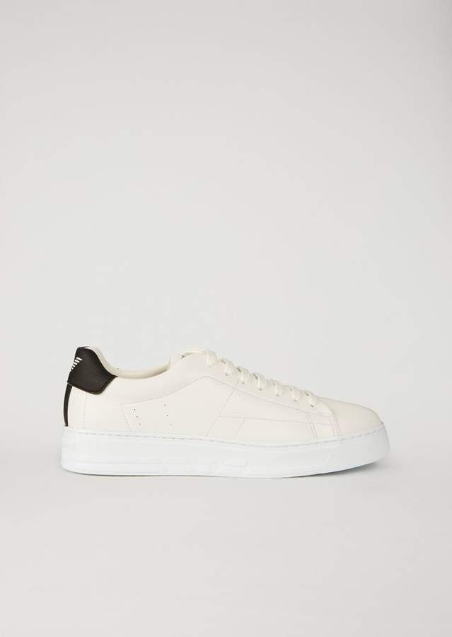 Emporio Armani Faux Leather Sneakers With Branded Insert