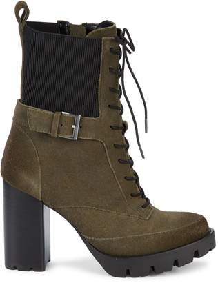Charles David Govern Ribbed Stack-Heel Suede Booties