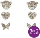 Me To You Tatty Teddy Silver Plated Set Of 3 Heart, Butterfly And Bear Earrings