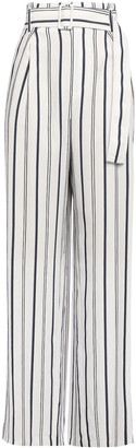 Vince Belted Striped Twill Wide-leg Pants