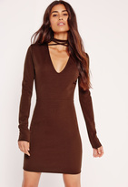Missguided Tie Neck V Front Bodycon Dress Brown
