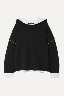 ATM Anthony Thomas Melillo Oversized Two-tone Cotton-blend Hoodie - Black