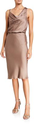 Halston Cowl-Neck Sleeveless Satin Dress