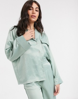Asos DESIGN washed satin shirt co-ord in sage