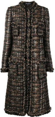 Dolce & Gabbana Tweed Single-Breasted Coat