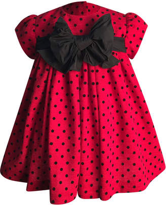 Helena Girl's Polka-Dot Bow Dress, Size 6-18 Months
