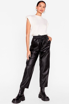 Nasty Gal Womens Faux Leather Called You Back Relaxed Jogger Trousers - Black - 6