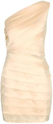 Lavish Alice Blush One-shoulder Satin Mini Dress