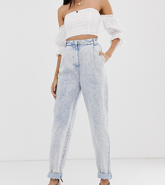 Asos Tall ASOS DESIGN Tall tapered boyfriend jeans with curved seam in bleach acid wash
