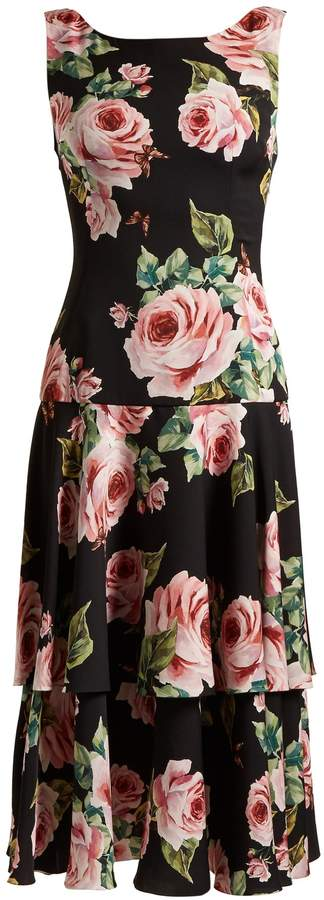 Dolce & Gabbana Dropped-waist rose-print charmeuse dress