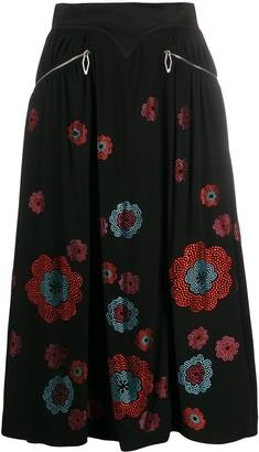 Paco Rabanne Crystal Floral Print Skirt