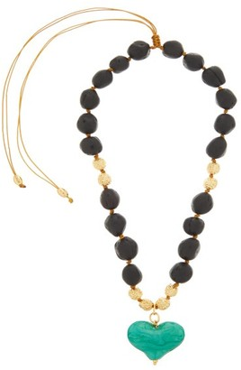 Tohum Cuore Gold-plated Wooden Pendant Necklace - Black Multi