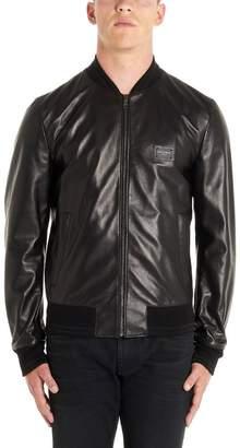 Dolce & Gabbana Logo Patch Leather Bomber Jacket