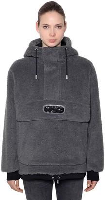 GCDS Hooded Faux Fur Anorak W/ Logo Patch