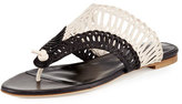 Oscar de la Renta Cindy Macramé Thong Sandal, Black/White