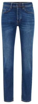 HUGO BOSS Tapered Fit Jeans In Indigo Super Stretch Denim - Dark Blue