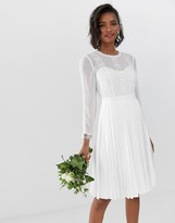 Ted Baker bridal lace trim pleated skirt dress