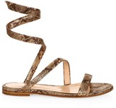 Gianvito Rossi Dallas Snakeskin-Embossed Metallic Leather Flat Sandals