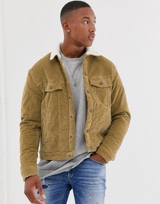 Jack and Jones Intelligence cord borg collar jacket in camel-Tan