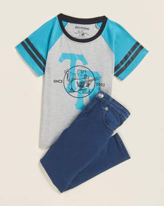 True Religion Boys 4-7) Two-Piece Logo Raglan Tee & Jeans Set