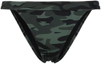 Solid & Striped Camouflage Print Bikini Bottoms