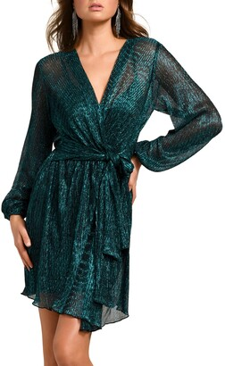 Ever New Silvia Long Sleeve Metallic Plisse Wrap Minidress