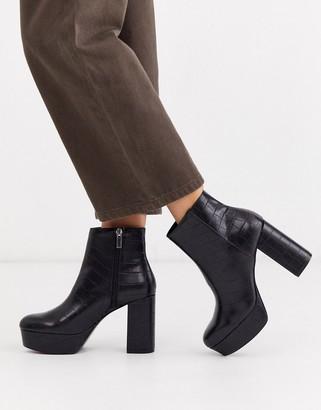 Stradivarius moc croc platform boots in black