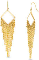 Zales Square Outline with Multi-Row Rope Chain Dangle Drop Earrings in 10K Gold