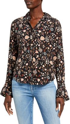 Frame Ruffle 70s Floral Button-Down Silk Top