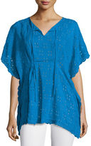 Johnny Was Eyelet Short-Sleeve Poncho, Plus Size