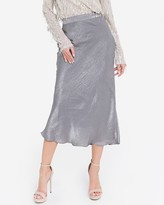 Express English Factory Silver Satin Midi Skirt