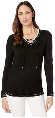 Calvin Klein Lace-Up V-Neck Sweater (Soft White) Women's Sweater