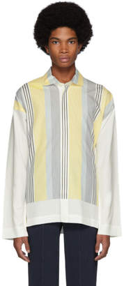 Issey Miyake Homme Plisse White and Yellow Stripe Press Shirt