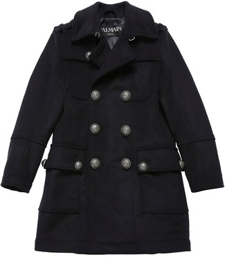 Balmain Double Breasted Wool Blend Coat