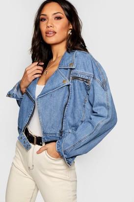 boohoo Crop Biker Zip jean jacket