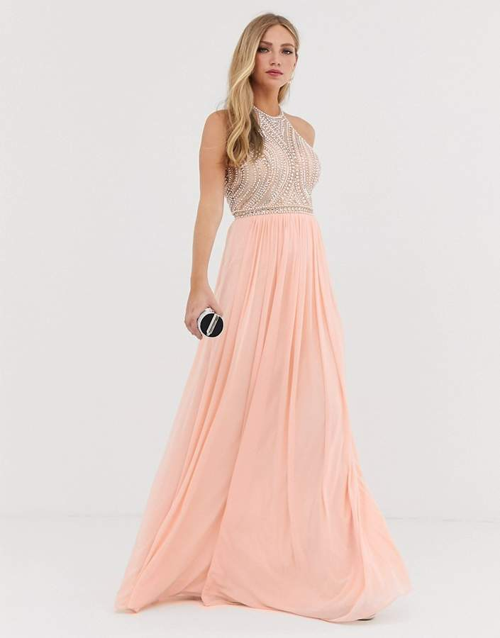 Jovani high neck embellished detail maxi dress with a line skirt