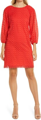 Vince Camuto Long Sleeve Eyelet Poplin Shift Dress