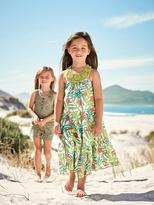 Vertbaudet Long Printed Dress with Macrame Neckline
