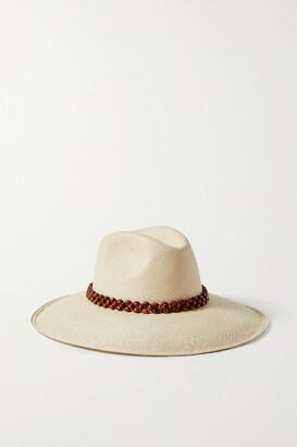 ARTESANO Peoni Bead-embellished Straw Panama Hat - Ecru