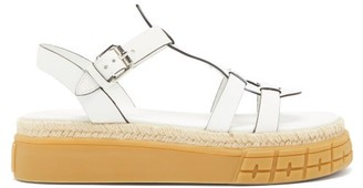 Prada Tyre-sole Leather Sandals - White