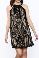 KORI AMERICA Lace Overlay Mini Dress