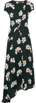 Marni Asymmetric Printed Silk-chiffon Midi Dress - Emerald