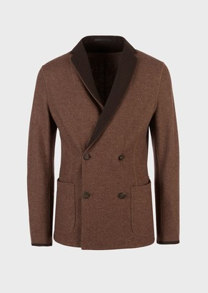 Giorgio Armani Interlock Jersey Double-Breasted Jacket With Contrasting Lapels