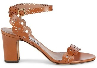 Tabitha Simmons Bobbin Lasercut Leather Ankle-Strap Sandals