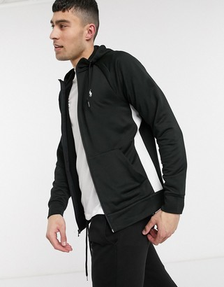 Polo Ralph Lauren player logo side taping lightweight full zip hoodie in black