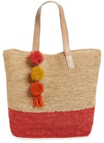 Mar y Sol Montauk Woven Tote With Pom Charms - Coral