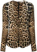 Saint Laurent leopard print gathered blouse