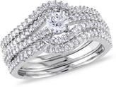Julie Leah 3/4 CT TW Diamond 14K White Gold Crossover Multi-Row Bridal Set