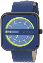 Versus By Versace Women's SGH030013 Kyoto Black Ion-Plated Stainless Steel Blue Genuine Leather Watch